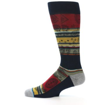 Image of Multi-Color Paisley Men's Casual Socks (side-2-12)