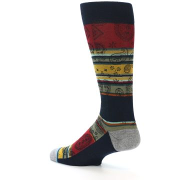 Image of Multi-Color Paisley Men's Casual Socks (side-2-back-14)