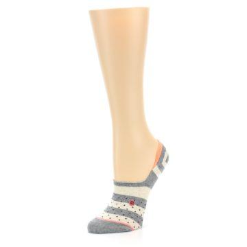 Image of Grey Stripe & Dots Women's No-Show Socks (side-2-09)