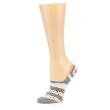Image of Grey Stripe & Dots Women's No-Show Socks (side-2-10)