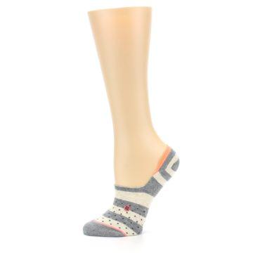 Image of Grey Stripe & Dots Women's No-Show Socks (side-2-11)