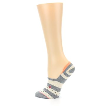 Image of Grey Stripe & Dots Women's No-Show Socks (side-2-13)