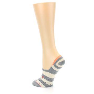 Image of Grey Stripe & Dots Women's No-Show Socks (side-2-back-14)