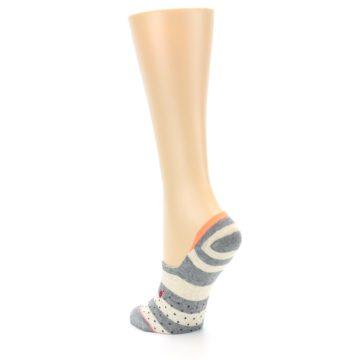 Image of Grey Stripe & Dots Women's No-Show Socks (side-2-back-15)