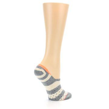 Image of Grey Stripe & Dots Women's No-Show Socks (side-1-23)