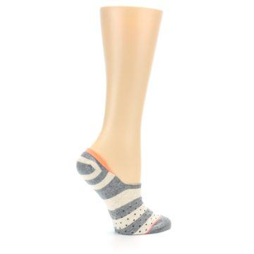 Image of Grey Stripe & Dots Women's No-Show Socks (side-1-24)