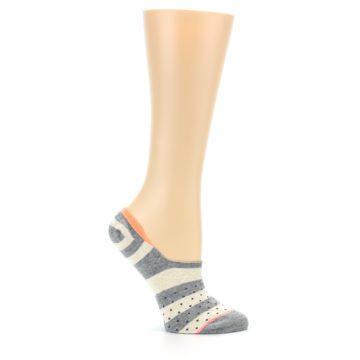 Image of Grey Stripe & Dots Women's No-Show Socks (side-1-25)