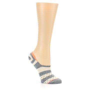 Image of Grey Stripe & Dots Women's No-Show Socks (side-1-26)