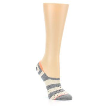 Image of Grey Stripe & Dots Women's No-Show Socks (side-1-27)