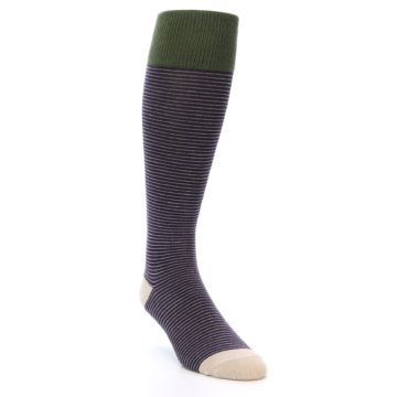Image of Purple Stripe Men's Over-the-Calf Dress Socks (side-1-front-02)