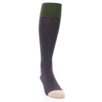 Image of Purple Stripe Men's Over-the-Calf Dress Socks (side-1-front-03)