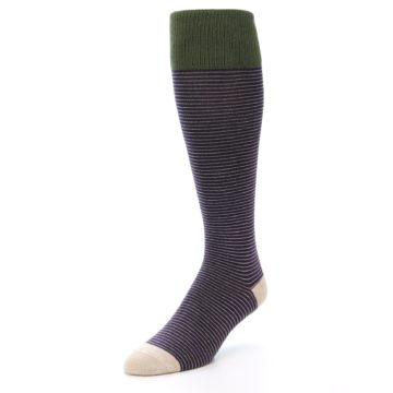 Image of Purple Stripe Men's Over-the-Calf Dress Socks (side-2-front-08)