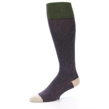 Image of Purple Stripe Men's Over-the-Calf Dress Socks (side-2-10)