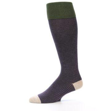 Image of Purple Stripe Men's Over-the-Calf Dress Socks (side-2-11)