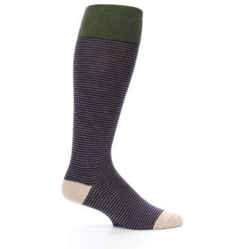 Image of Purple Stripe Men's Over-the-Calf Dress Socks (side-1-25)