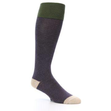 Image of Purple Stripe Men's Over-the-Calf Dress Socks (side-1-27)