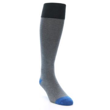 Image of Grey Stripe Men's Over-the-Calf Dress Socks (side-1-front-02)