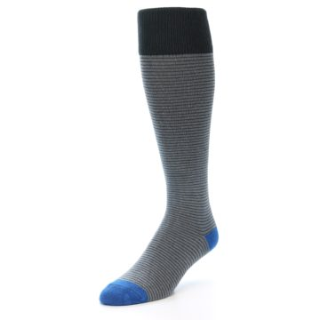 Image of Grey Stripe Men's Over-the-Calf Dress Socks (side-2-front-08)