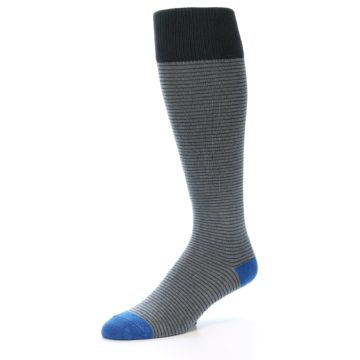 Image of Grey Stripe Men's Over-the-Calf Dress Socks (side-2-09)