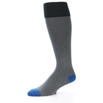 Image of Grey Stripe Men's Over-the-Calf Dress Socks (side-2-10)