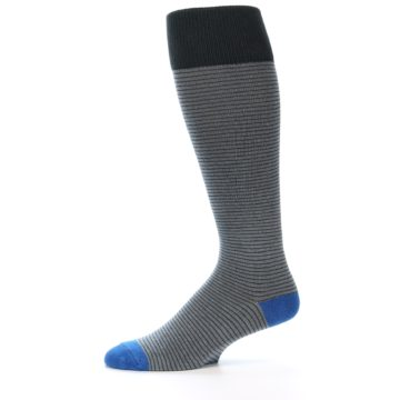 Image of Grey Stripe Men's Over-the-Calf Dress Socks (side-2-11)