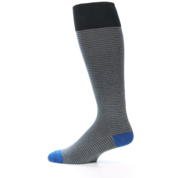 Image of Grey Stripe Men's Over-the-Calf Dress Socks (side-2-12)