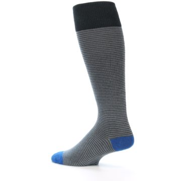 Image of Grey Stripe Men's Over-the-Calf Dress Socks (side-2-13)