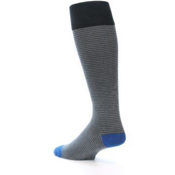 Image of Grey Stripe Men's Over-the-Calf Dress Socks (side-2-back-14)