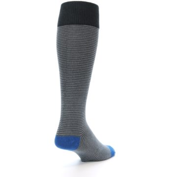 Image of Grey Stripe Men's Over-the-Calf Dress Socks (side-1-back-21)