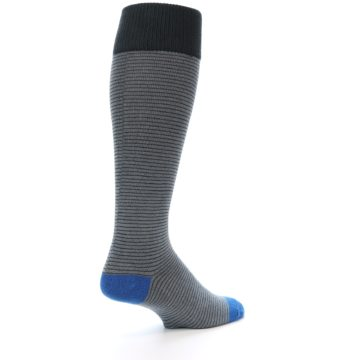 Image of Grey Stripe Men's Over-the-Calf Dress Socks (side-1-back-22)