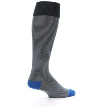 Image of Grey Stripe Men's Over-the-Calf Dress Socks (side-1-23)