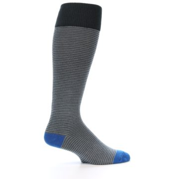 Image of Grey Stripe Men's Over-the-Calf Dress Socks (side-1-24)
