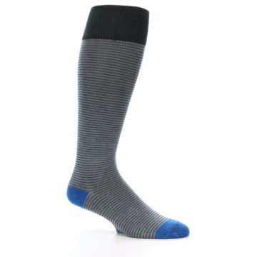 Image of Grey Stripe Men's Over-the-Calf Dress Socks (side-1-26)