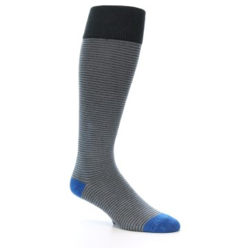 Image of Grey Stripe Men's Over-the-Calf Dress Socks (side-1-27)