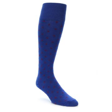 Image of Blue Red Polka Dot Men's Over-the-Calf Dress Socks (side-1-front-01)