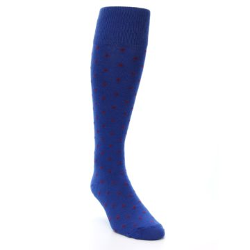 Image of Blue Red Polka Dot Men's Over-the-Calf Dress Socks (side-1-front-02)