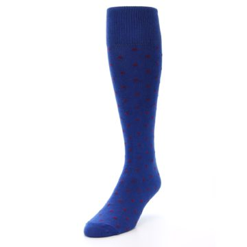 Image of Blue Red Polka Dot Men's Over-the-Calf Dress Socks (side-2-front-07)