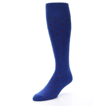 Image of Blue Red Polka Dot Men's Over-the-Calf Dress Socks (side-2-front-08)