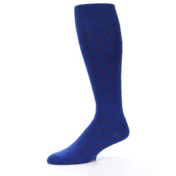 Image of Blue Red Polka Dot Men's Over-the-Calf Dress Socks (side-2-10)
