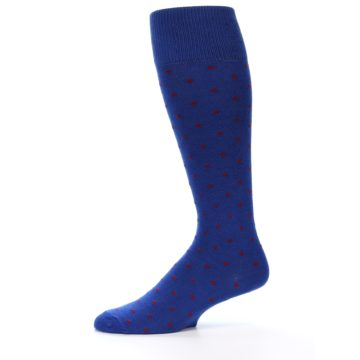 Image of Blue Red Polka Dot Men's Over-the-Calf Dress Socks (side-2-11)