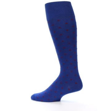 Image of Blue Red Polka Dot Men's Over-the-Calf Dress Socks (side-2-13)