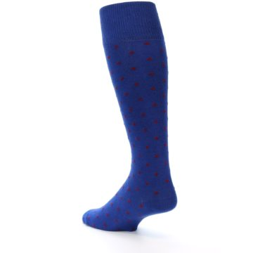 Image of Blue Red Polka Dot Men's Over-the-Calf Dress Socks (side-2-back-15)