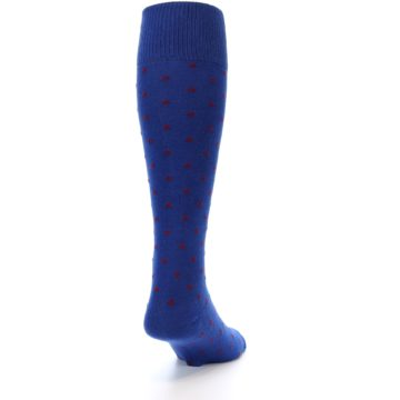 Image of Blue Red Polka Dot Men's Over-the-Calf Dress Socks (side-1-back-20)