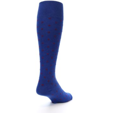 Image of Blue Red Polka Dot Men's Over-the-Calf Dress Socks (side-1-back-21)