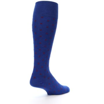 Image of Blue Red Polka Dot Men's Over-the-Calf Dress Socks (side-1-back-22)