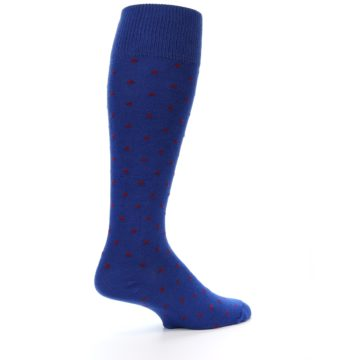 Image of Blue Red Polka Dot Men's Over-the-Calf Dress Socks (side-1-23)