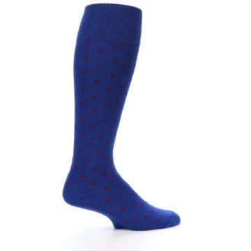 Image of Blue Red Polka Dot Men's Over-the-Calf Dress Socks (side-1-24)