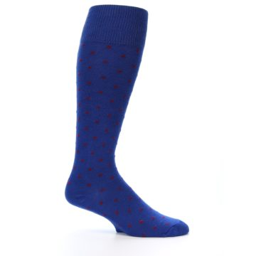 Image of Blue Red Polka Dot Men's Over-the-Calf Dress Socks (side-1-25)