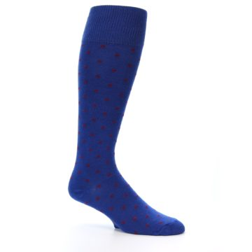 Image of Blue Red Polka Dot Men's Over-the-Calf Dress Socks (side-1-26)