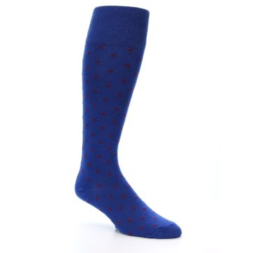 Image of Blue Red Polka Dot Men's Over-the-Calf Dress Socks (side-1-27)